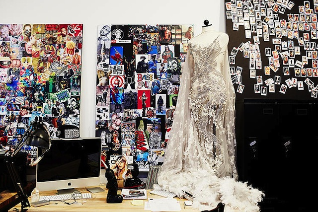 Color-coded swatches line the walls in the studio of Diesel's artistic director, Nicola Formichetti