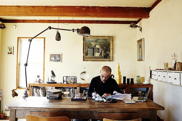 Selby traveled the world for three years to complete the book. Here, the studio of Japanese headpiece artist Katsuya Kamo