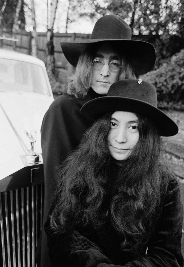 Yoko Ono and John Lennon at their home in England, December 1968.
